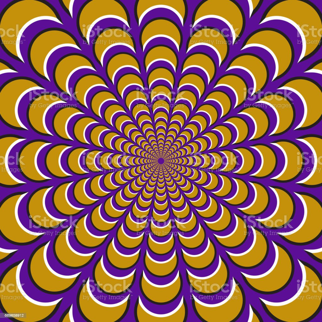 Optical motion illusion background. Yellow crescents fly apart circularly from the center on purple background. vector art illustration