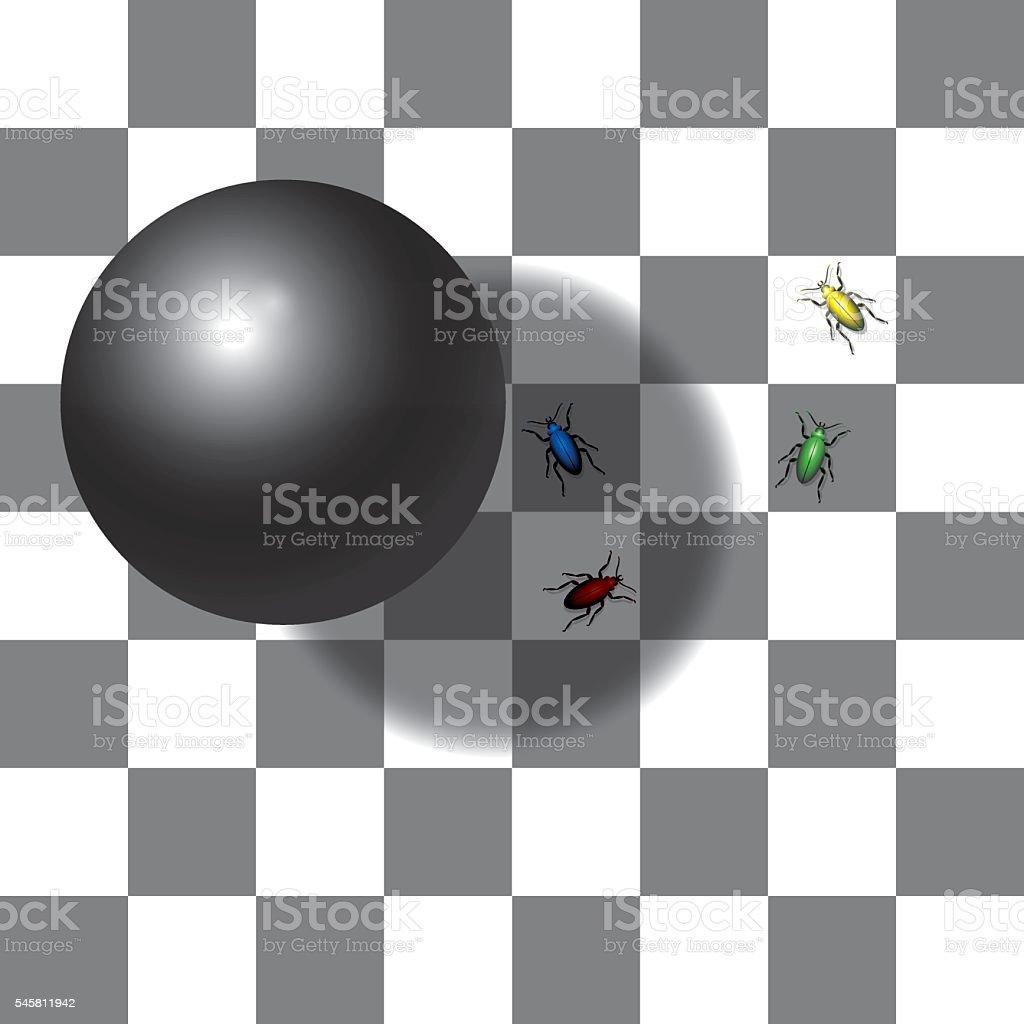 Optical Shadow Illusion Chessboard vector art illustration