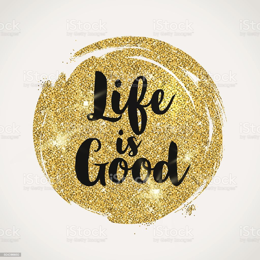 Optimistic quote on a glitter golden background vector art illustration