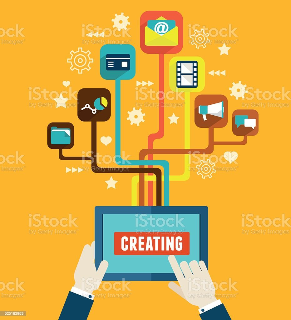 Optimization and creating applications for mobile devices vector art illustration
