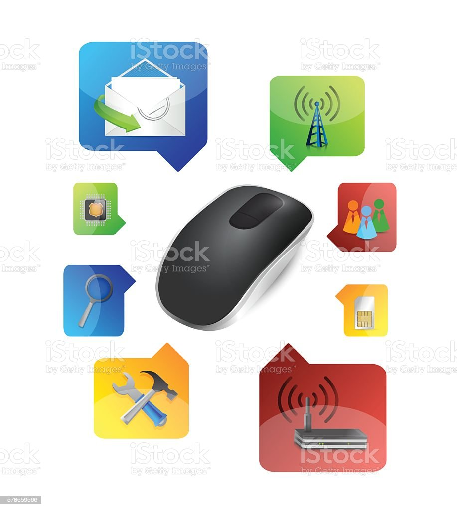 option selection. Wireless computer mouse isolated on white back vector art illustration