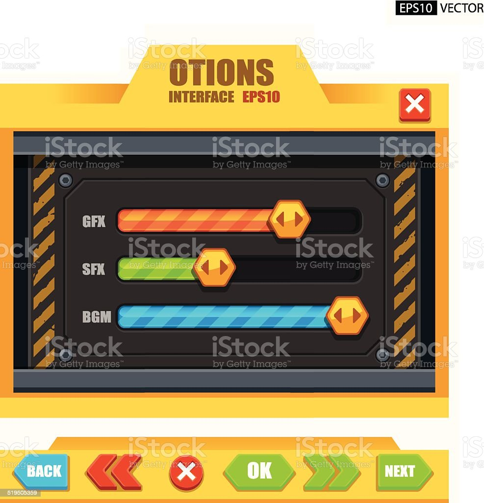 Options interface royalty-free stock vector art