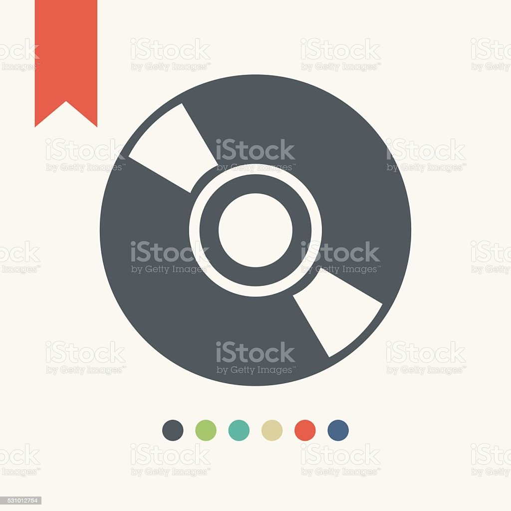 CD or DVD icon vector art illustration