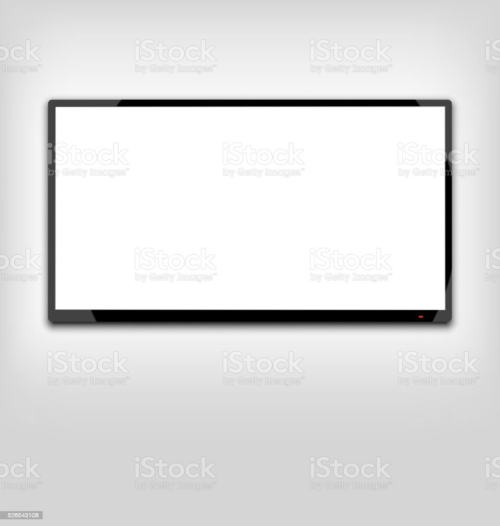 LCD or LED tv screen hanging on the wall vector art illustration