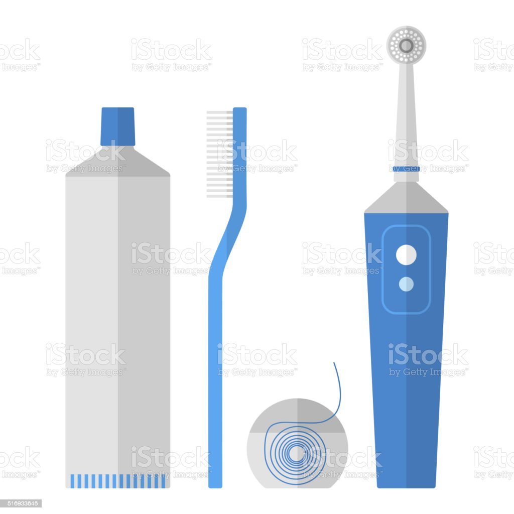Oral hygiene. Set of toothbrush, dental floss, toothpaste, flat icons vector art illustration