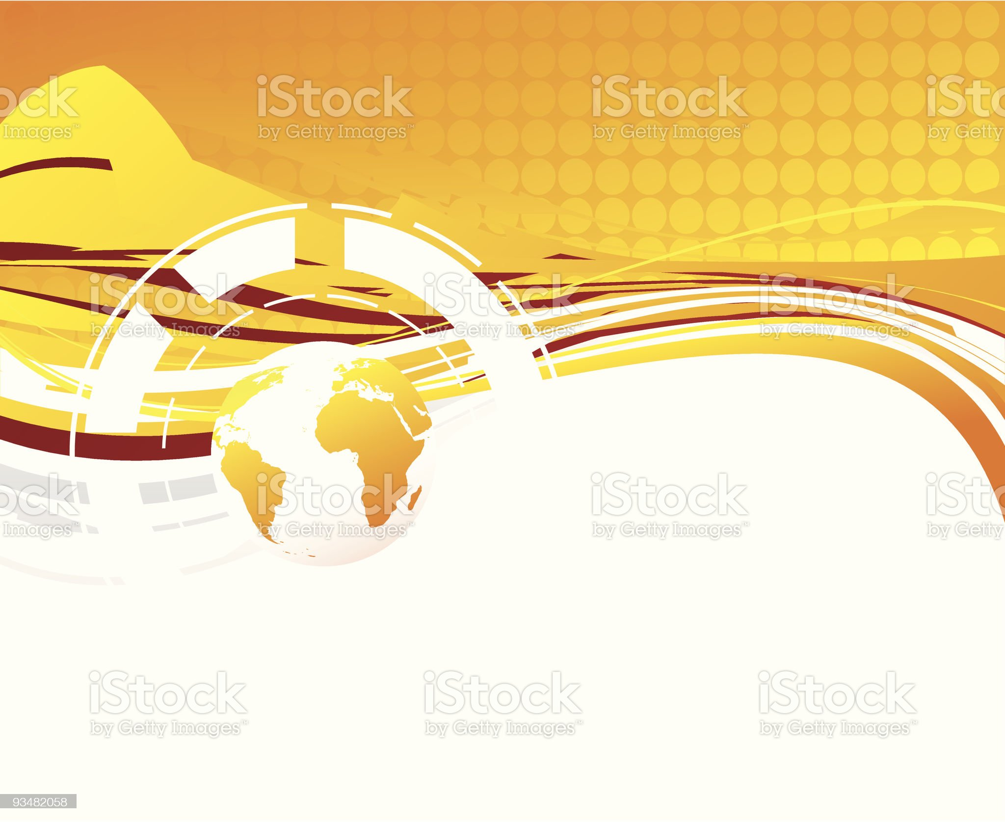 Orange abstract background and planet royalty-free stock vector art