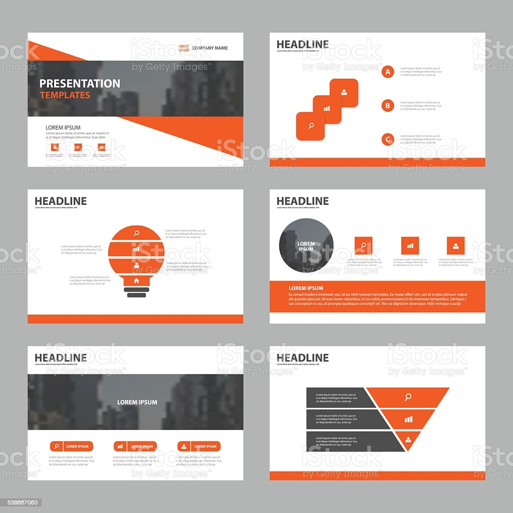 Orange Abstract presentation templates, Infographic elements template flat design vector art illustration