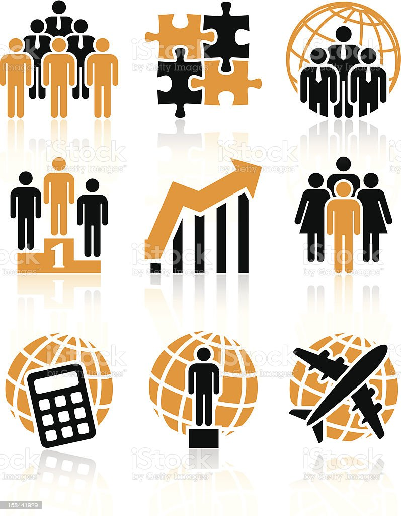 Orange and black business icons vector art illustration