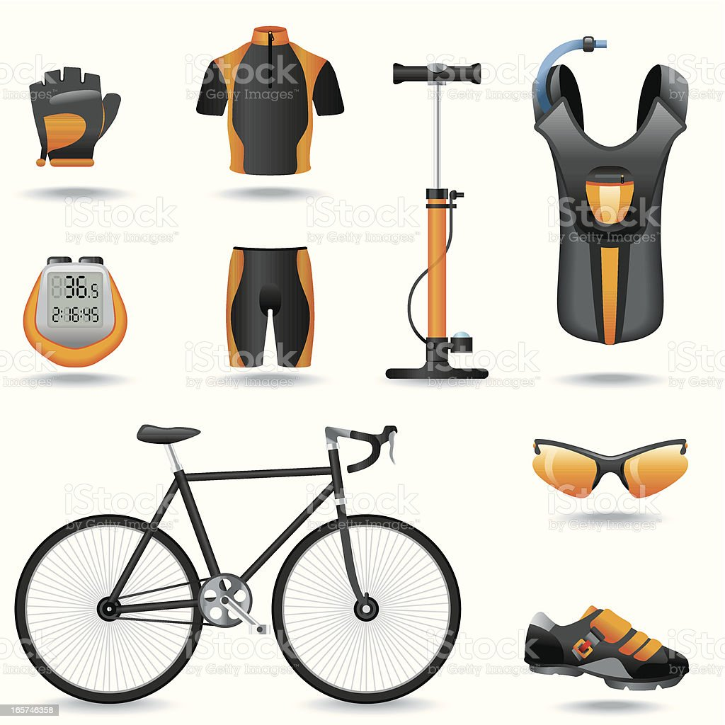 Orange and black cycling gear computer icons vector art illustration