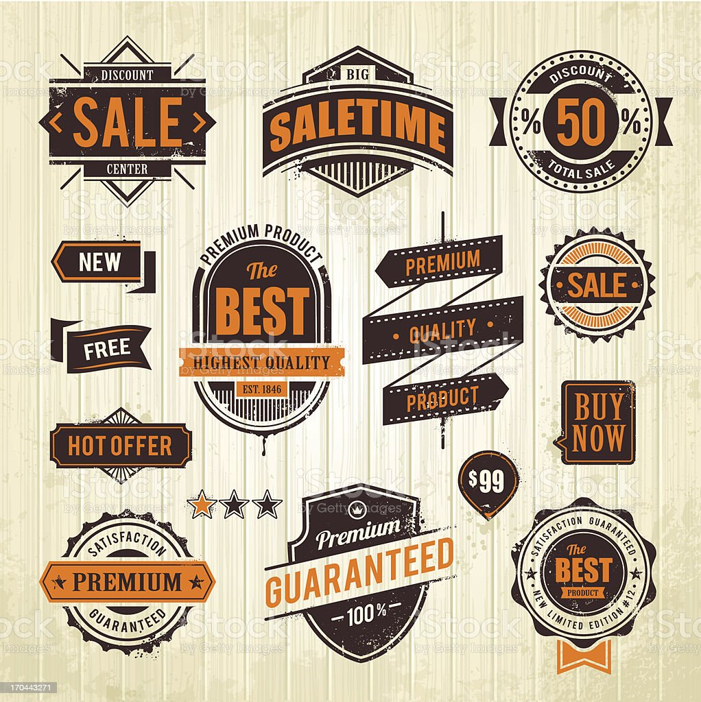 Orange and black grunge sale emblems vector art illustration