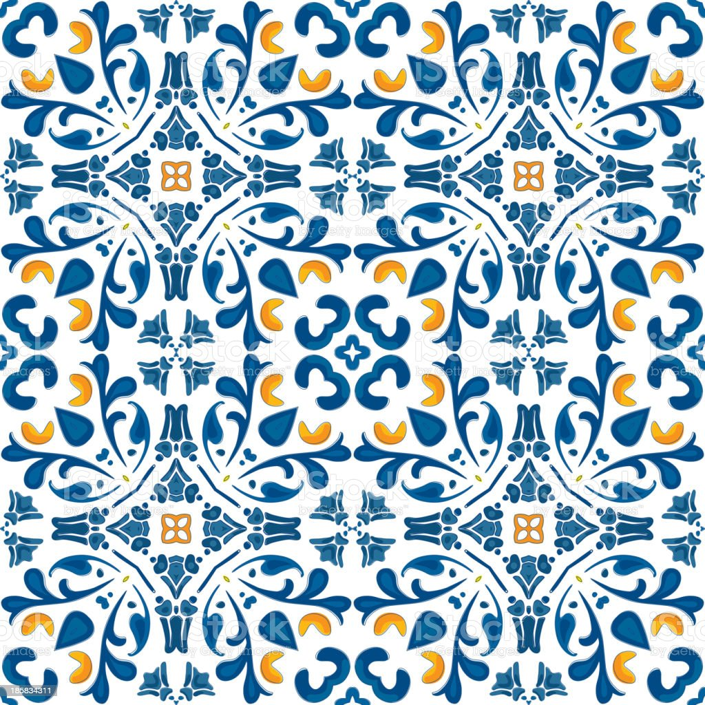 Orange and blue Portuguese tile design vector art illustration