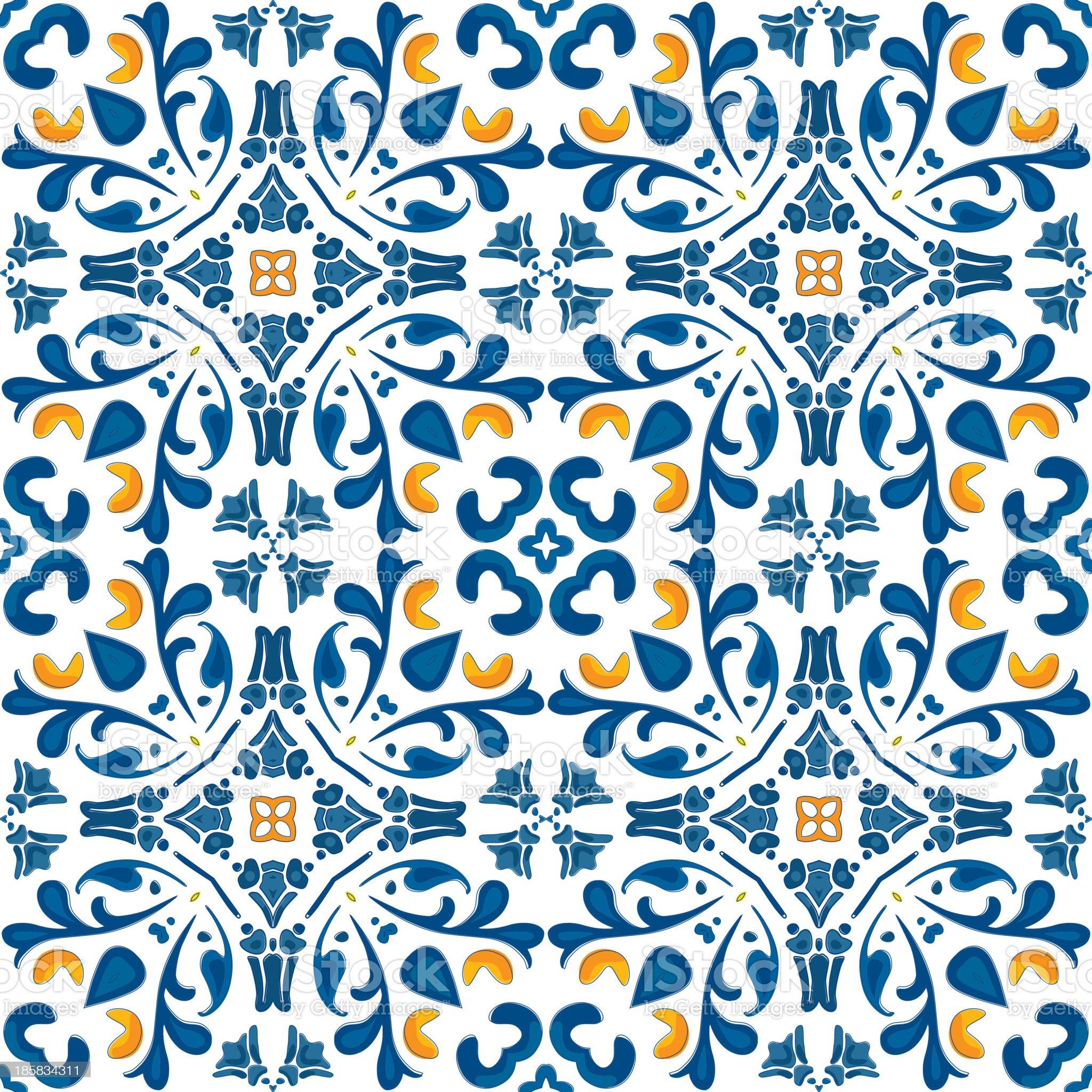 Orange and blue Portuguese tile design royalty-free stock vector art