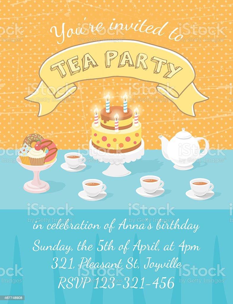Elegant tea party invitation template with teacups cartoon vector - Orange And Blue Tea Party Invitation With Tea Cups And Cake Royalty Free Stock Vector