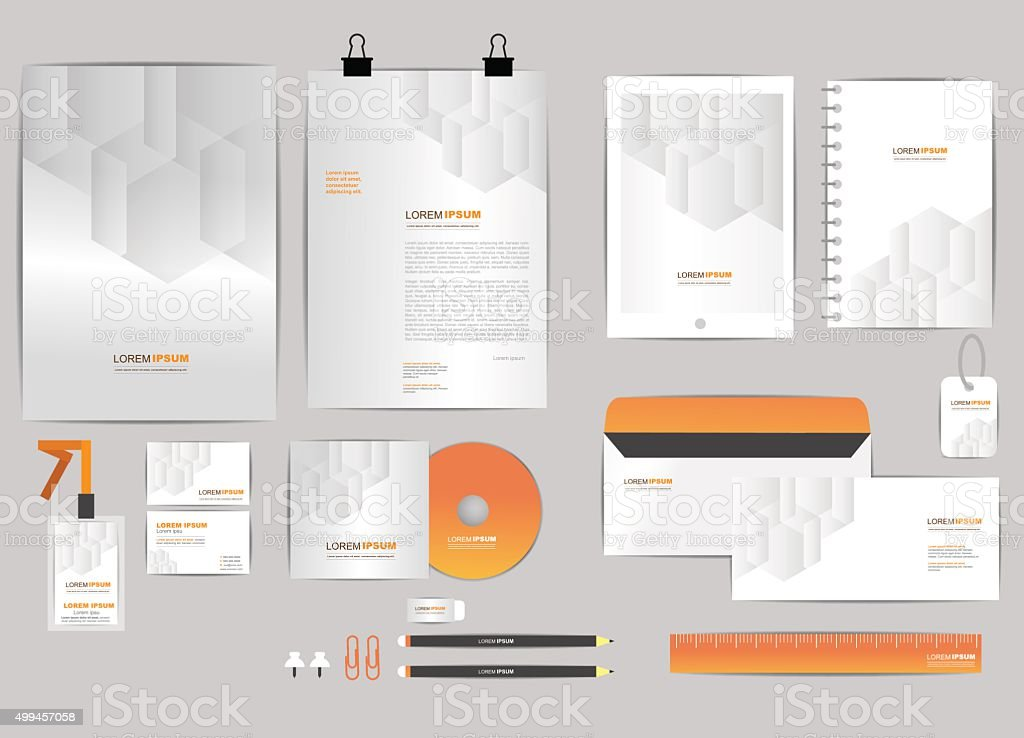orange and grey corporate identity template  for your business vector art illustration