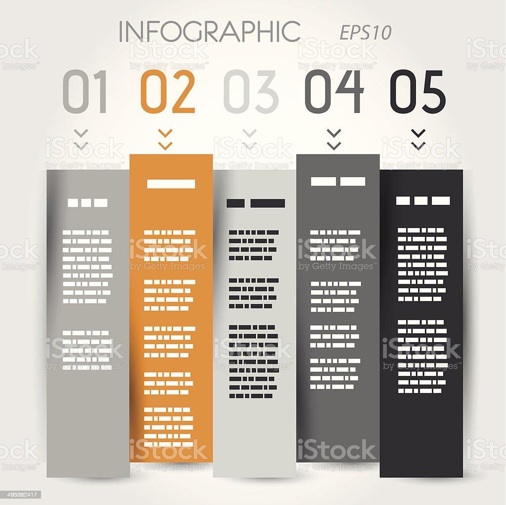 orange and grey zig zag column options vector art illustration