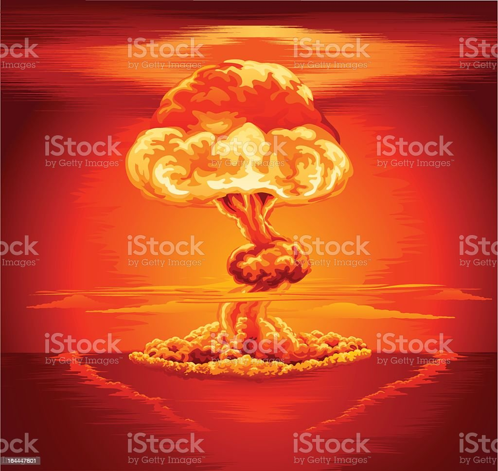Orange and red illustration of a nuclear mushroom cloud royalty-free stock vector art
