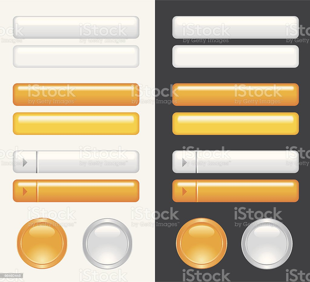 orange and white gray vector buttons vector art illustration