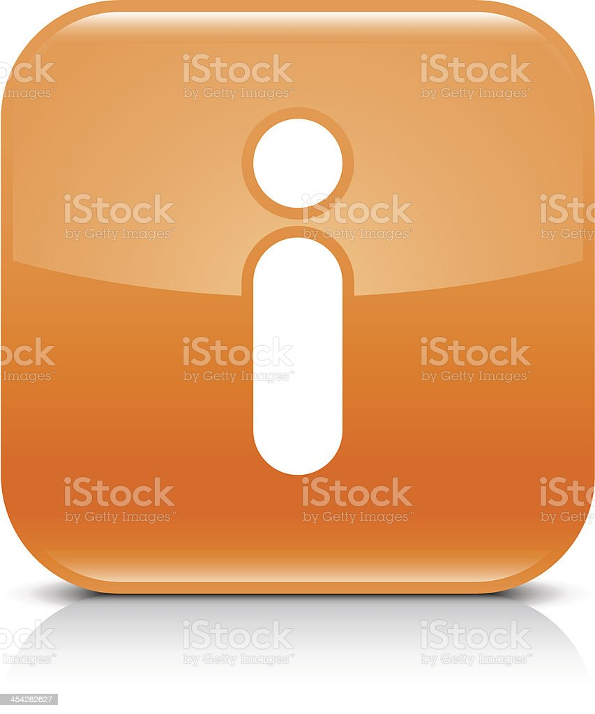 Orange and white information button vector art illustration
