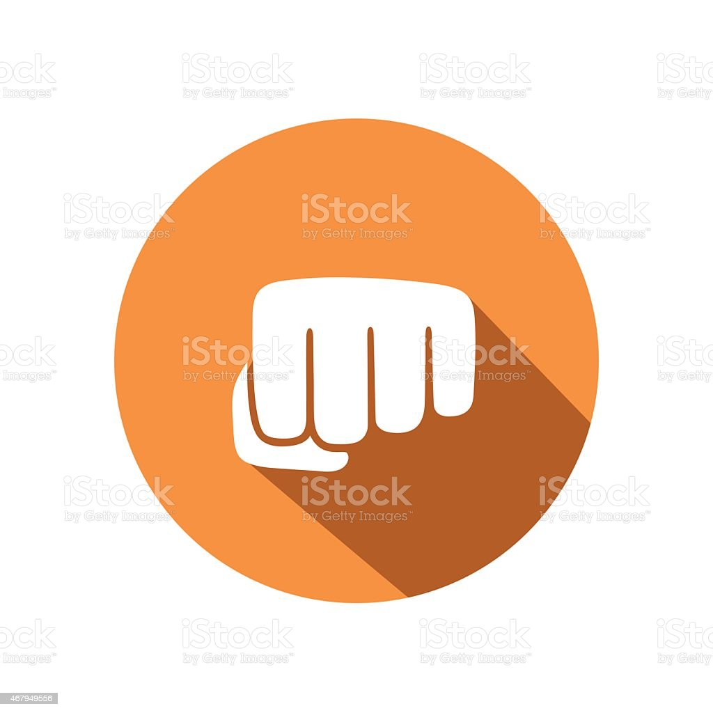 Orange and white vector icon of a fist vector art illustration