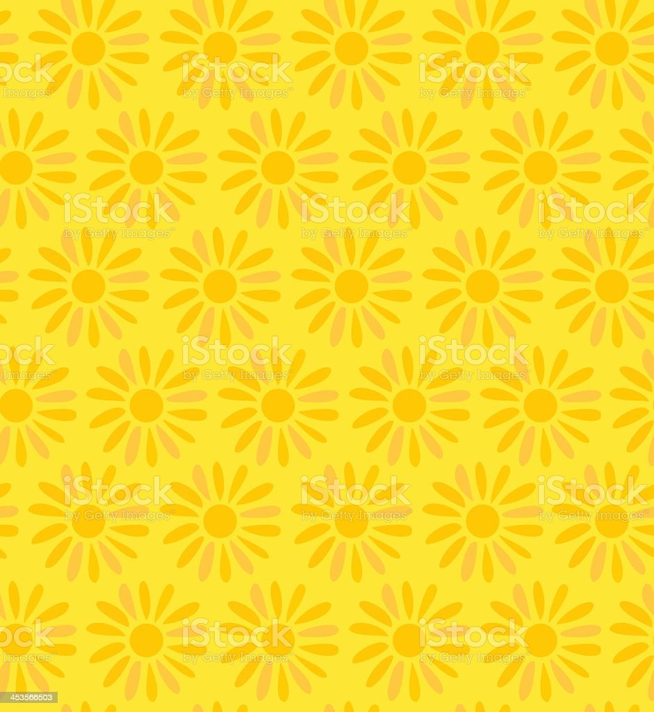 Orange and yellow floral seamless background vector art illustration