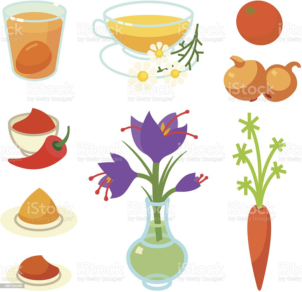 Orange and yellow natural egg dyes royalty-free stock vector art