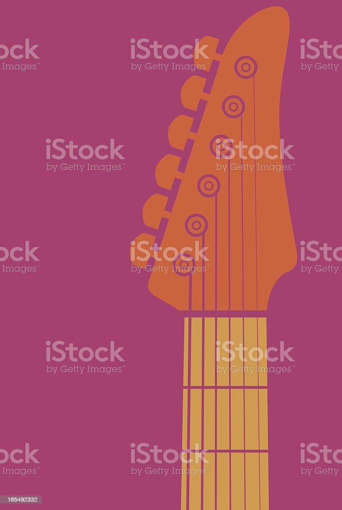 Orange animated guitar's neck on a pink background vector art illustration