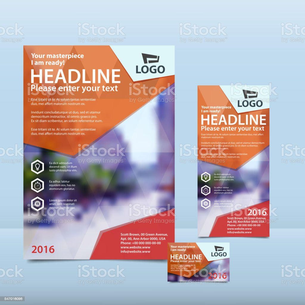 Orange annual report with brochure, flyer and business card vector art illustration
