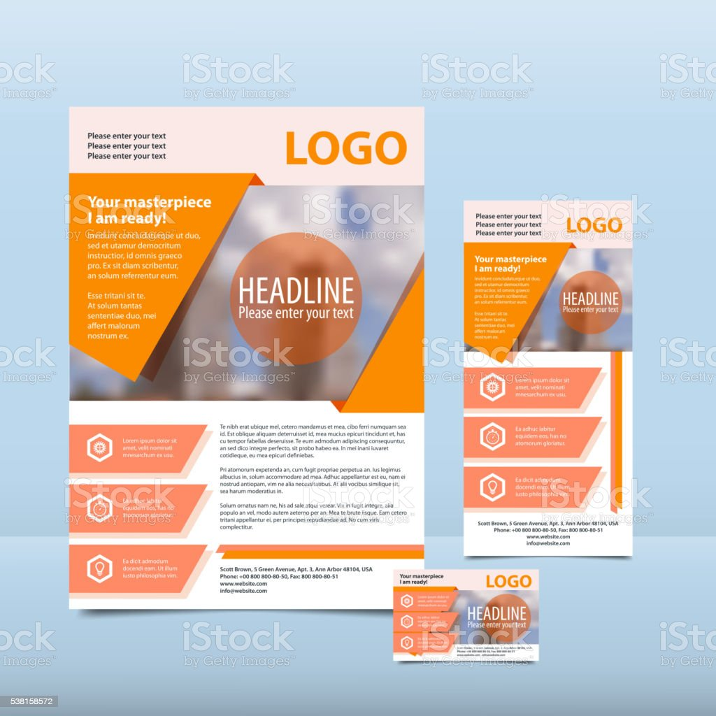 Orange annual report with the pattern brochure flyer business card vector art illustration
