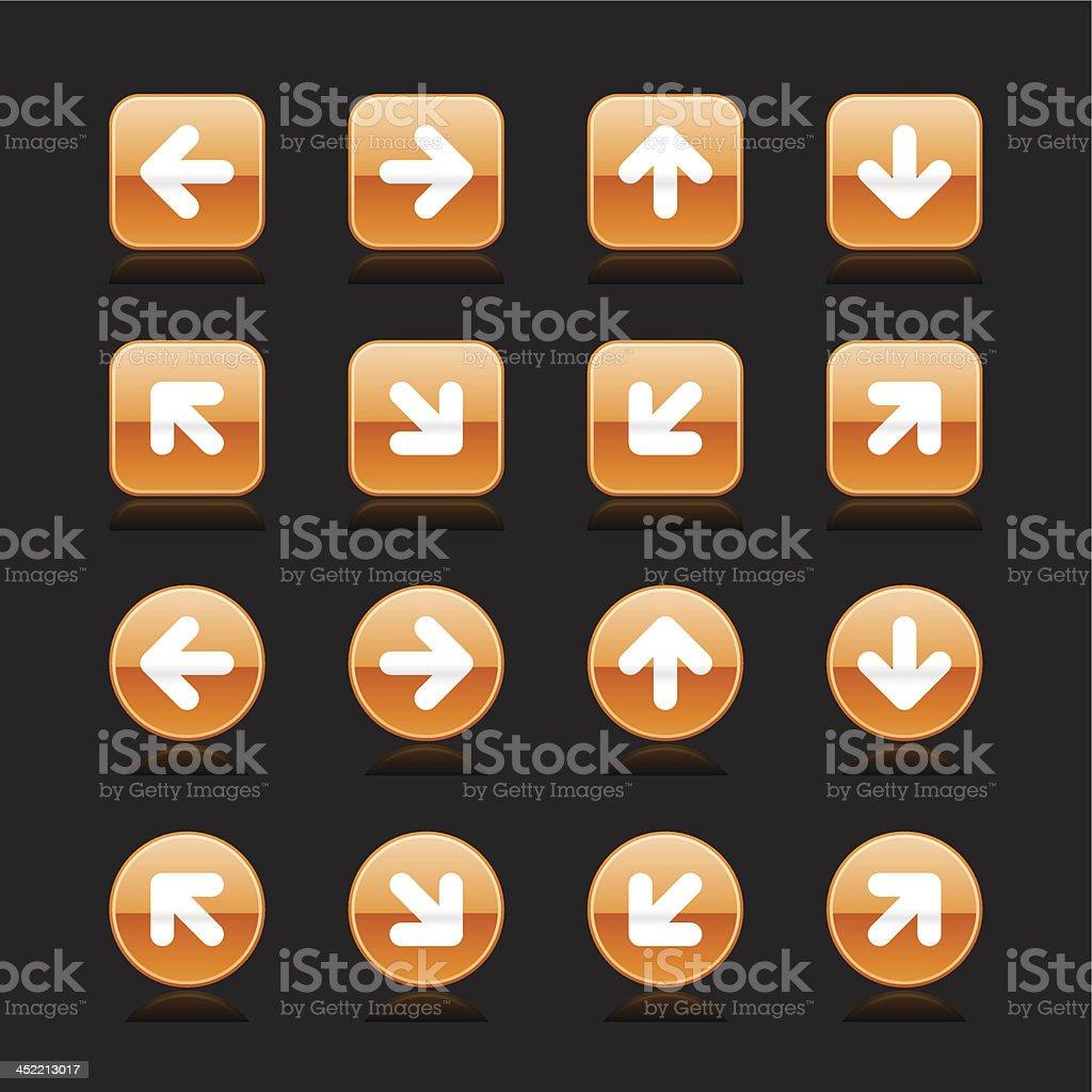 Orange arrow sign white pictogram direction icon navigation button royalty-free stock vector art