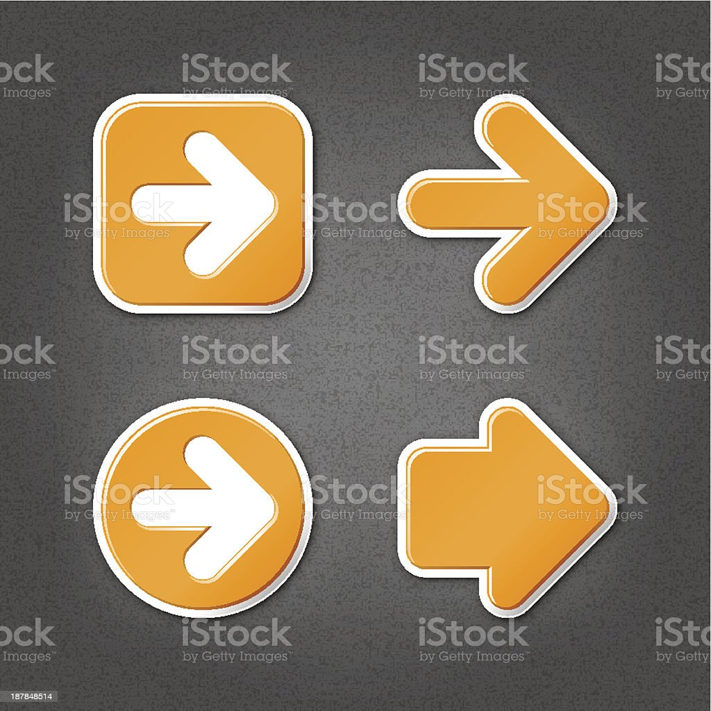 Orange arrow sticker direction label sign internet icon noise texture royalty-free stock vector art