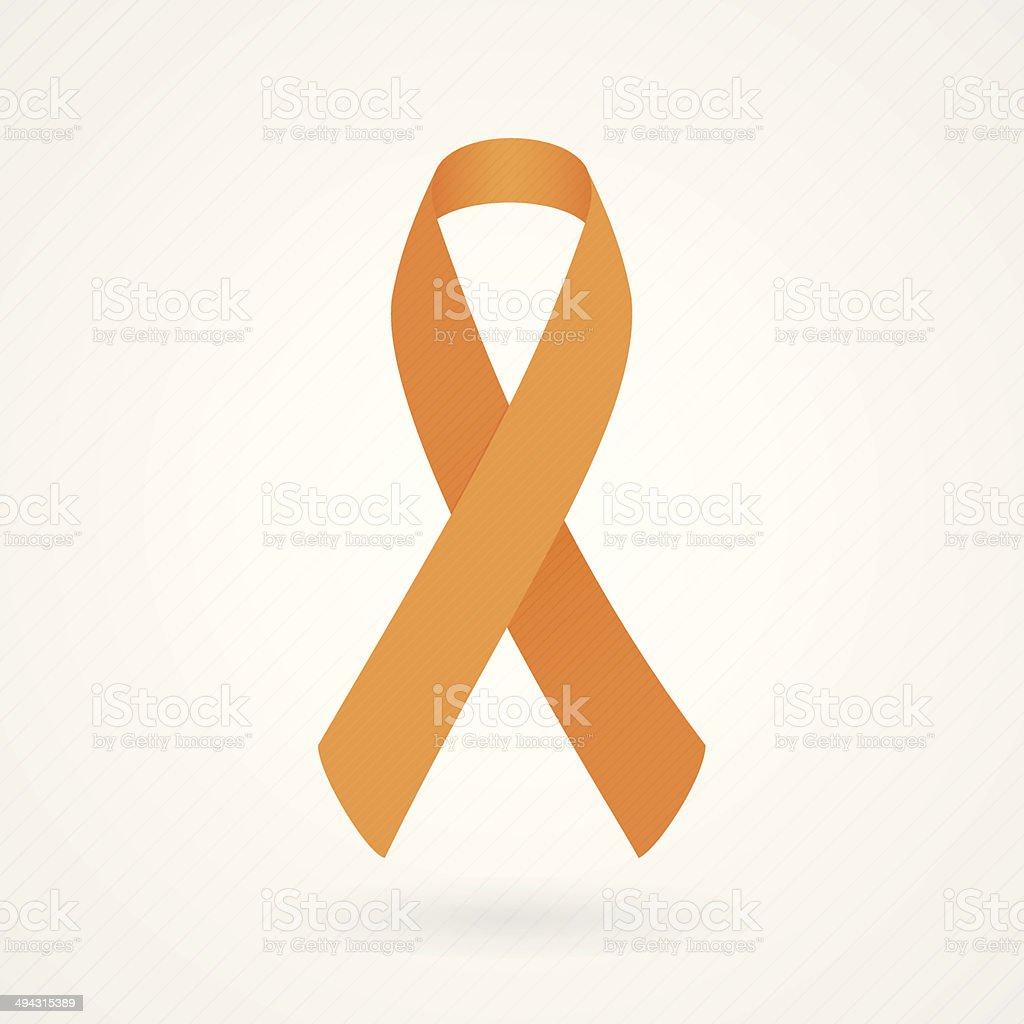 Orange awareness ribbon vector art illustration