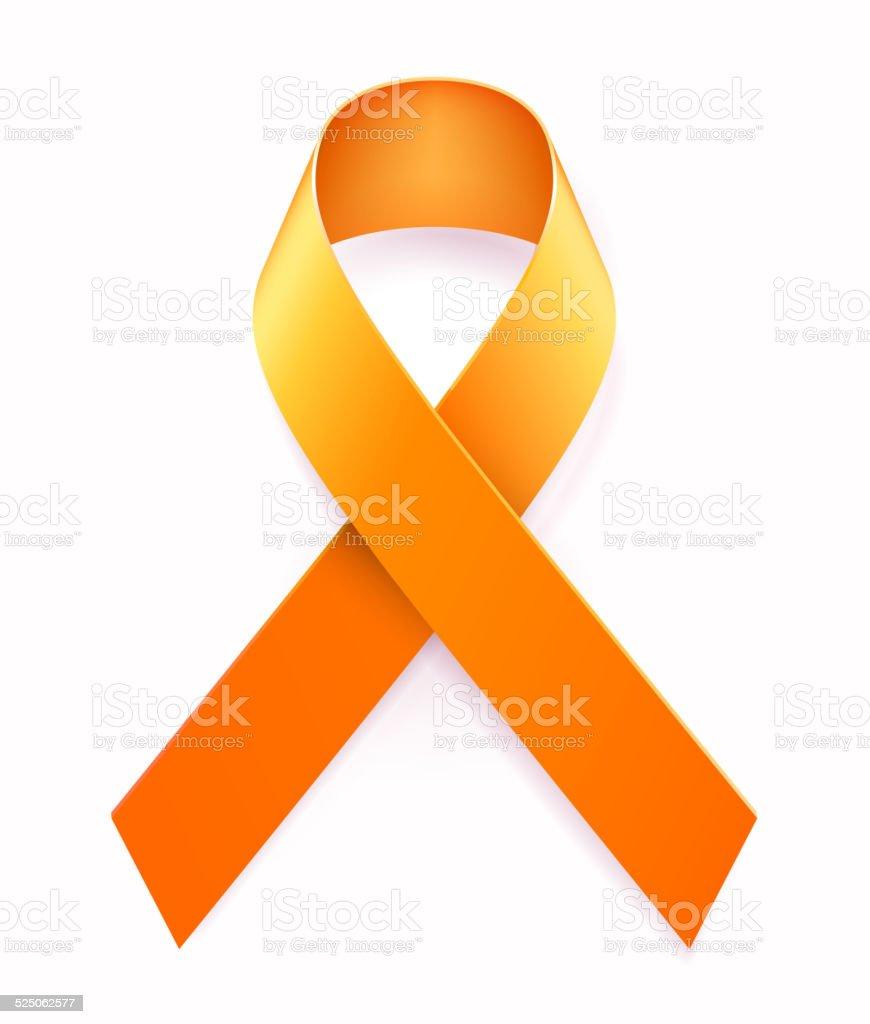 Orange Awarness Ribbon vector art illustration