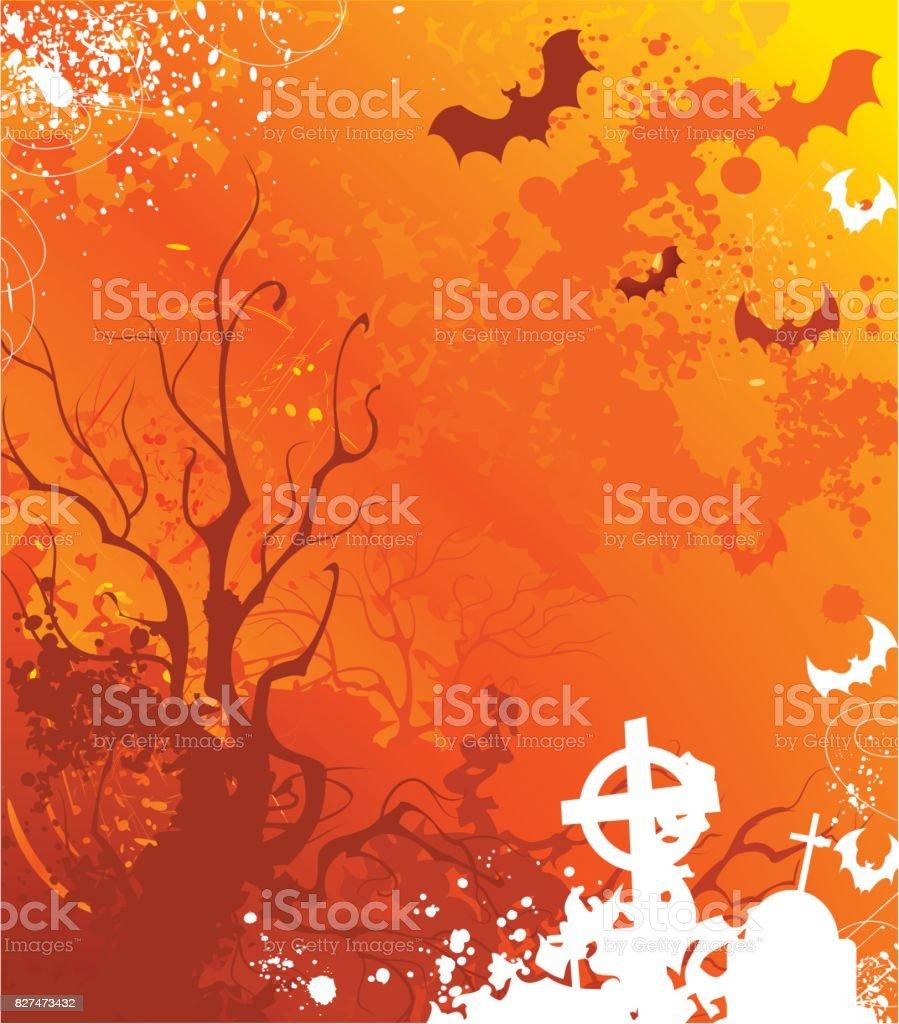 orange background on halloween vector art illustration