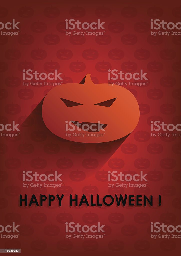 Orange background with pumpkin and inscription Happy Halloween. royalty-free stock vector art