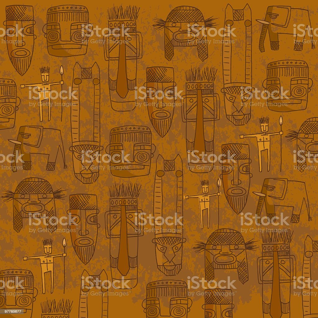 Orange background with sketches of tribal masks vector art illustration