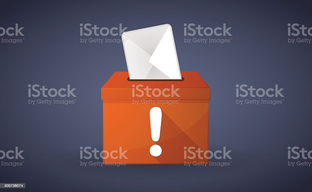 Orange ballot box with an exclamation sign vector art illustration