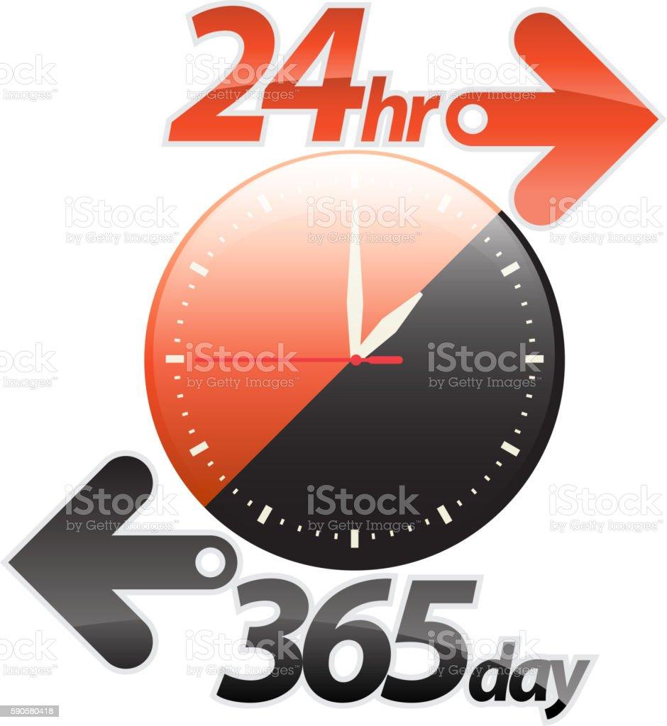 Orange black 24hr 365 day arrow vector art illustration