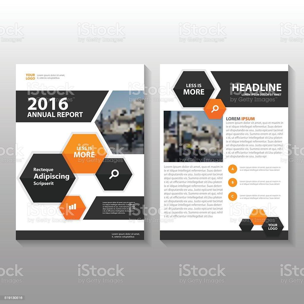 Orange black Hexagon Vector annual report Leaflet Brochure Flyer template vector art illustration