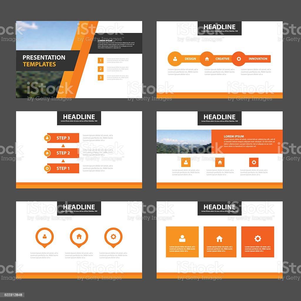 Orange Schwarz Präsentation Infografiken flachen design-Vorlagen-set – Vektorgrafik