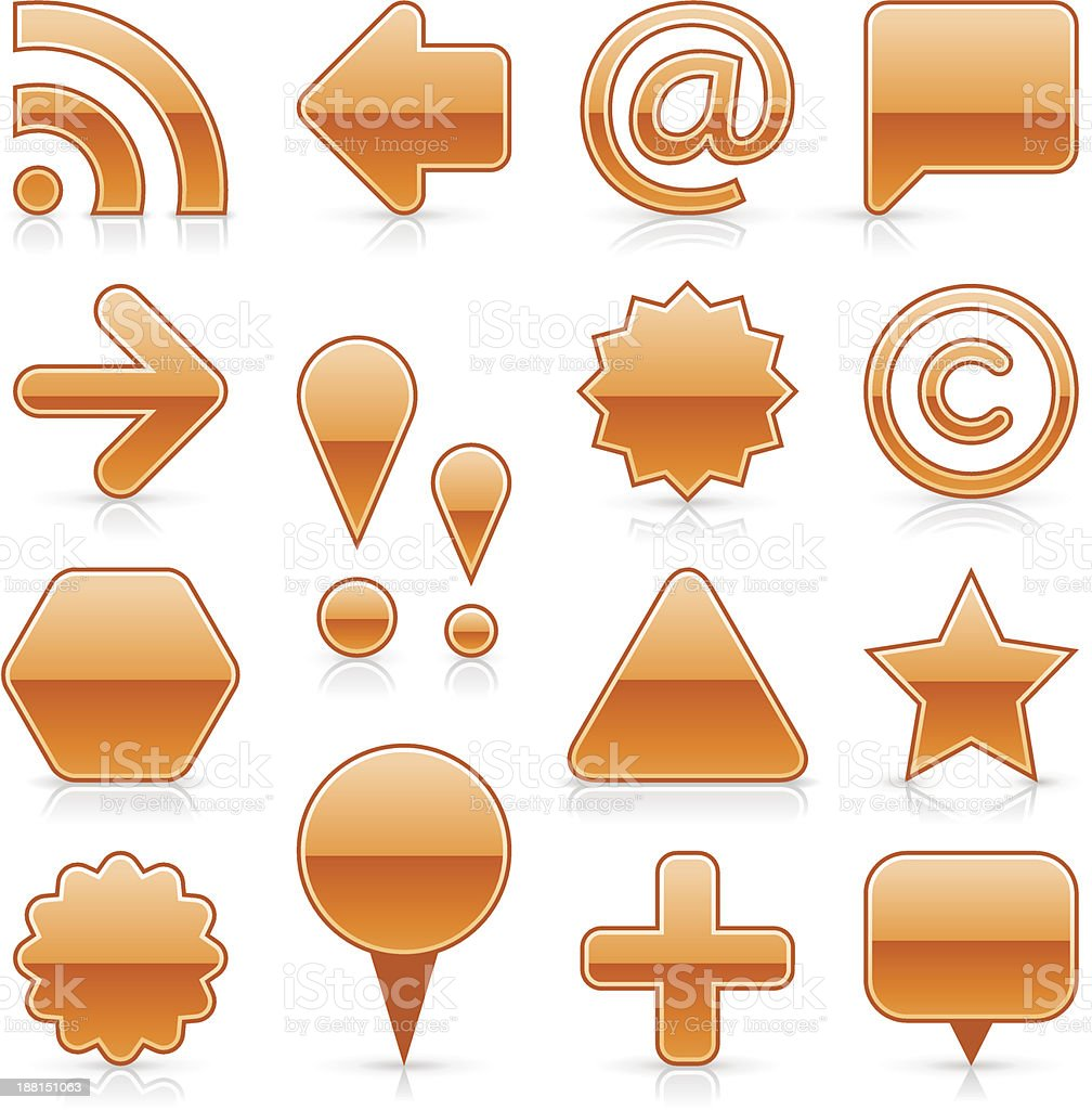 Orange blank button empty glossy icon web internet shape royalty-free stock vector art