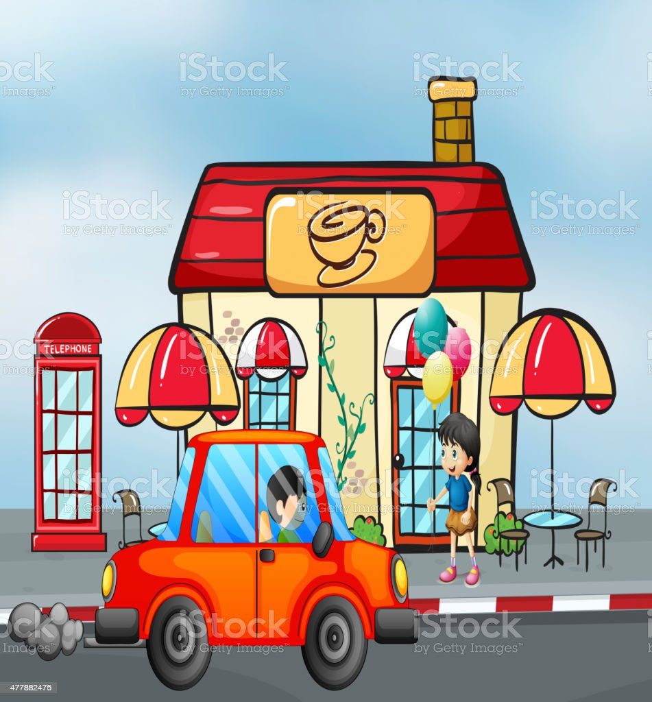 Orange car in front of the coffee shop royalty-free stock vector art