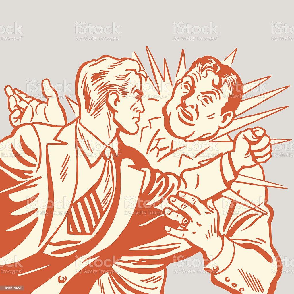 Orange cartoon of two men in fist fight vector art illustration