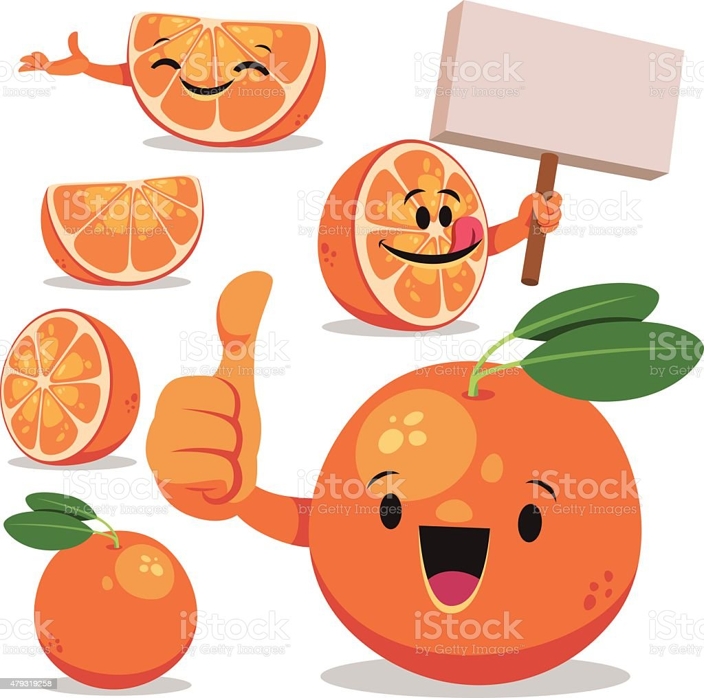 Orange Cartoon Set C vector art illustration