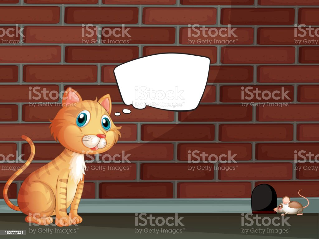 orange cat with an empty callout royalty-free stock vector art
