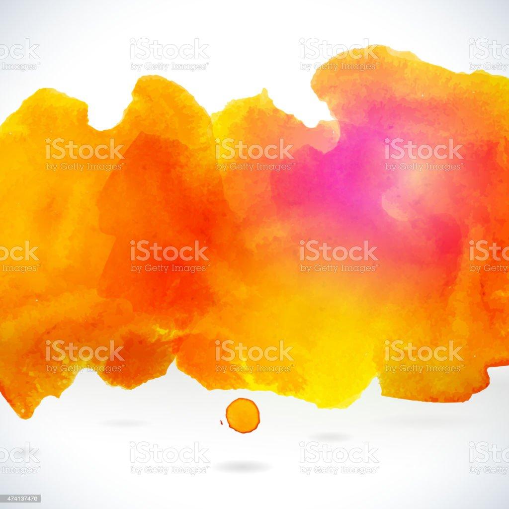 Orange centered decorative watercolor background vector art illustration