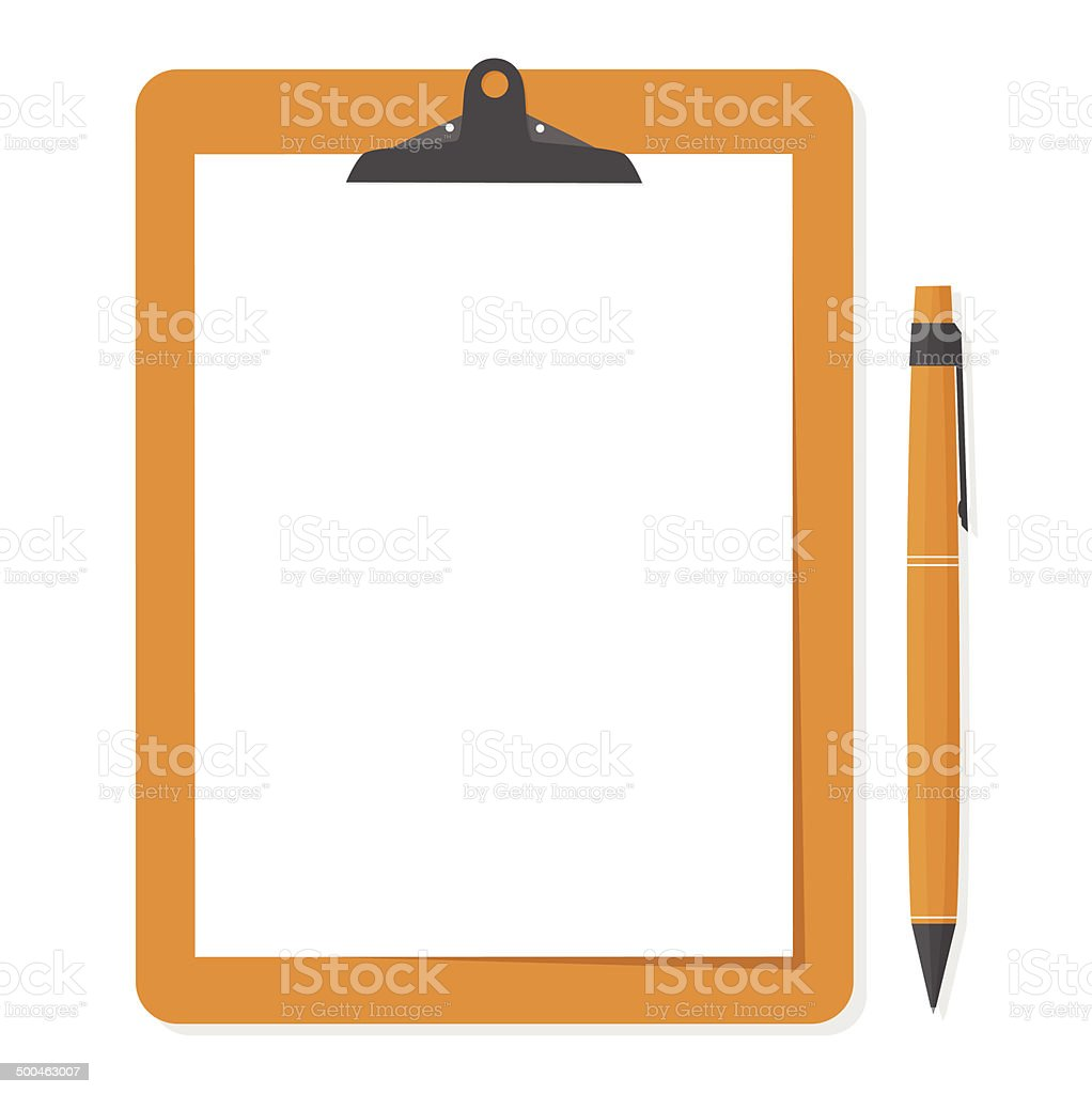 Orange clipboard with white paper and pen put alongside. vector art illustration