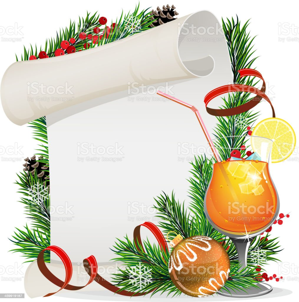 Orange cocktail, Christmas wreath and paper scroll vector art illustration