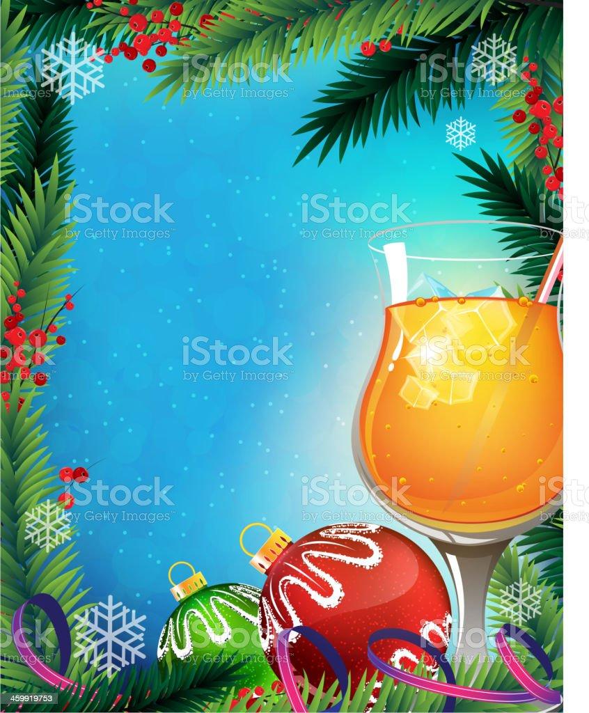 Orange cocktail on a winter background vector art illustration