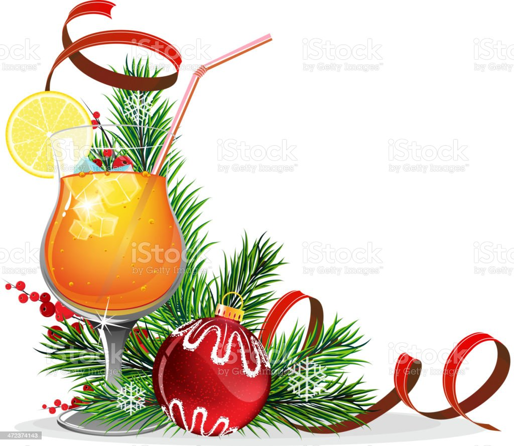 Orange cocktail, spruce branches and baubles vector art illustration