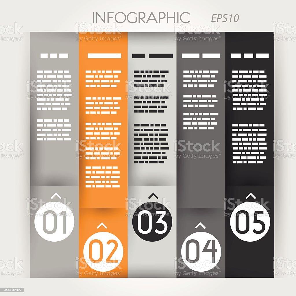 orange column infographic five options in rings zig zag royalty-free stock vector art
